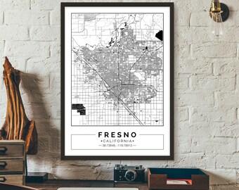 Fresno, California, City map, Poster, Printable, Print, Street map, Wall art