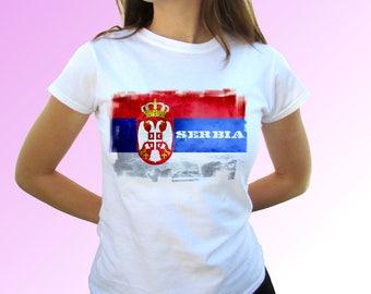 Damen T-Shirt Serbien Serbia Србија Fan-Shirt WM 2018 Fußball Weltmeisterschaft