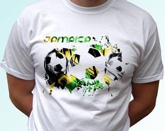 Jamaica football white t shirt top short sleeves flag - Mens, Womens, Kids, Baby - All Sizes!