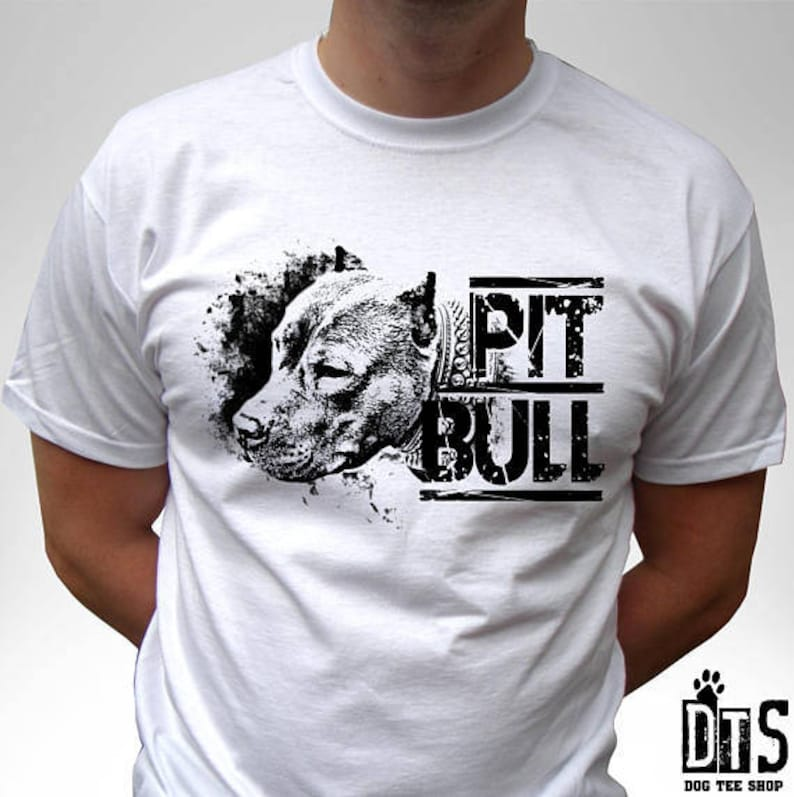 e2e94aa1c Pitbull dog white t shirt pit bull top 100% cotton tee graphic | Etsy