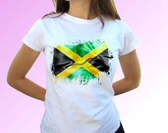 Jamaica flag white t shirt top short sleeves - Mens, Womens, Kids, Baby - All Sizes!