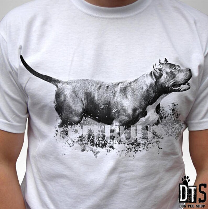 920ded3a6 Pitbull design dog white t shirt pit bull top 100% cotton tee | Etsy