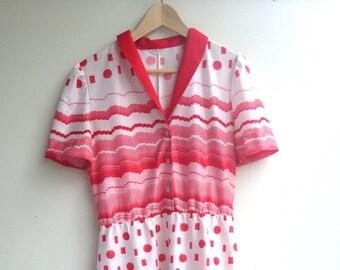 Vintage Midi Dress geometric print, 70s
