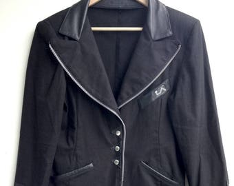 Cool Vintage Black 90s Avant Garde Unique Jacket / Blazer