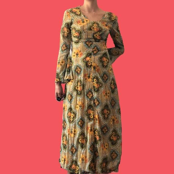 70's floral maxi dress