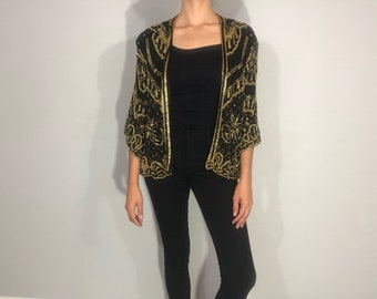 1980s silk beaded evening jacket