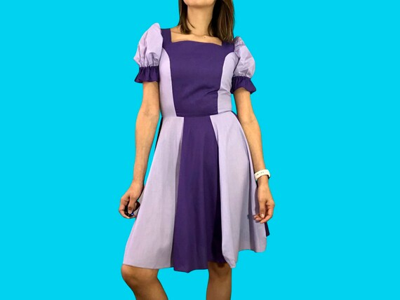 Vintage purple color block square dance dress