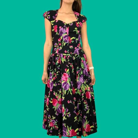 80's floral button front midi dress