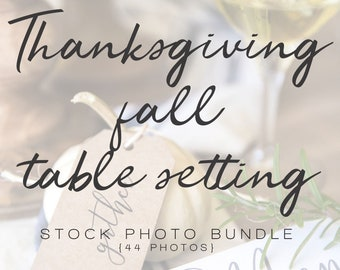 Thanksgiving Fall Table Setting Styled Stock Photo Bundle | Seasonal Styled Stock Photos | Branding Images | Stock Flat Lay