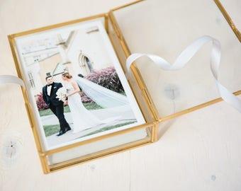 "4x6"" Gold & Glass Photo Print Box - Personalized Glass Jewelry Box - Bridesmaids Gift - Personalized Name"