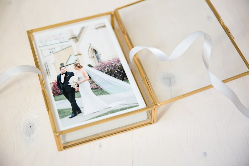 4x6 Gold & Glass Photo Print Box  Personalized Glass image 0