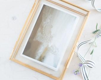 "5x7"" Gold & Glass Photo Print Box - Personalized Glass Jewelry Box - Bridesmaids Gift - Personalized Name"