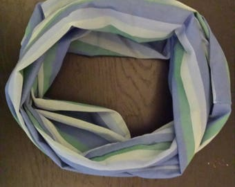 Blue and green stripped infinity scarf