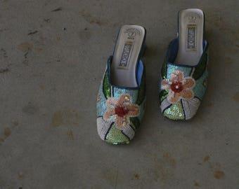 a3ac51d89 vintage beaded mules   geometric heel   oriental vintage heels   us 7