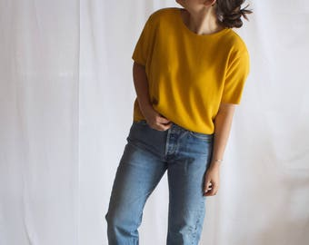 vintage 1970s mustard yellow sweater / vintage crewneck sweater / oversized minimal sweater / xs / s / m / l / xl
