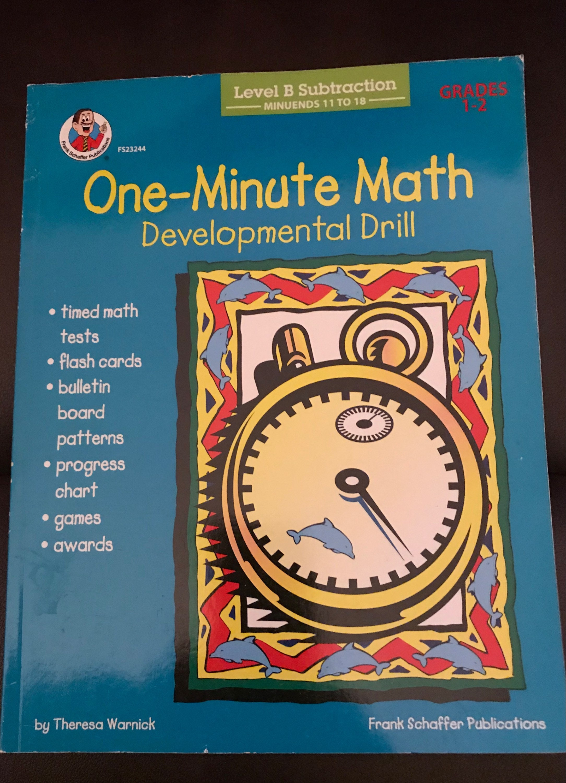 One-Minute Math Developmental Drills grades 1-2   Etsy