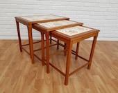 Nesting table, danish design, hand-painted ceramic tiles, teak wood