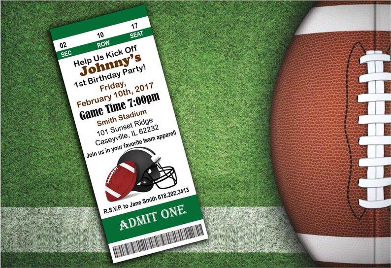 Sport Event Ticket Invitations Football Party Football Etsy