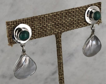 Sterling Silver Turquoise Earrings with Mother of Pearl