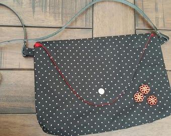 Black polka dots purse