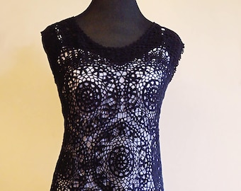 Black lace crochet dress. Hand-woven with cotton yarn. Bohemian style