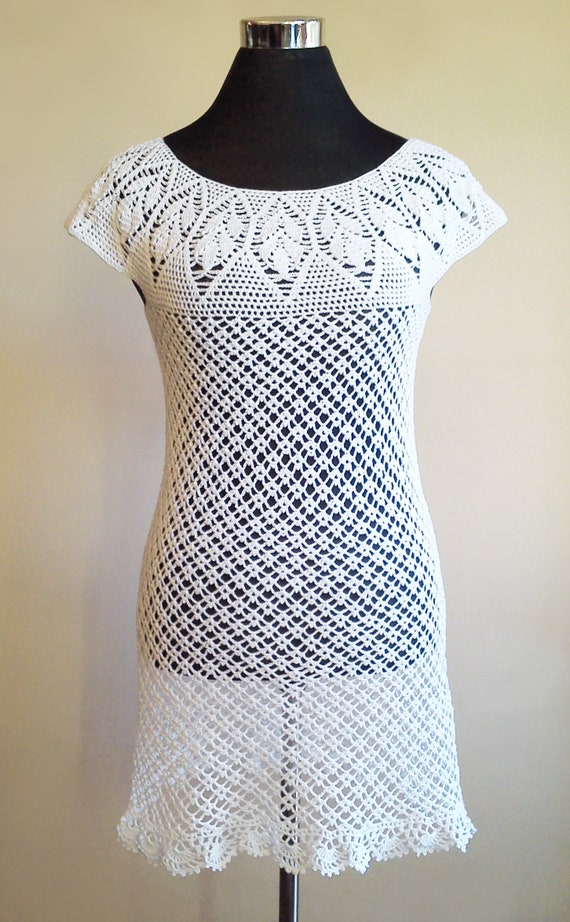 Vestido Blanco En Verdadero Crochet Tejido A Mano Salida De Playa En Crochet Vestido De Verano