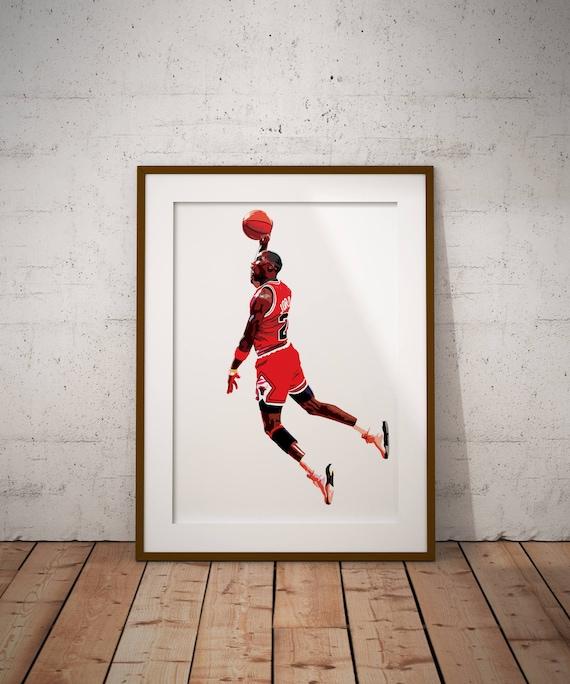 michael jordan vector illustration print sports art print etsy