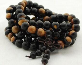 Jaune de bois de santal Aquilaria rond en bois Perles 8 mm 6 mm 108 Mala prière perles