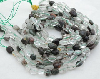GREEN PHANTOM QUARTZ GEMSTONE INCLUSIONS PEBBLE CHIPS 12X8-8X5MM LOOSE BEADS 16/""