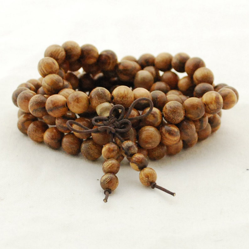 Natural Black Sandalwood Round Wood Beads 108 Mala Prayer Beads 8mm 6mm