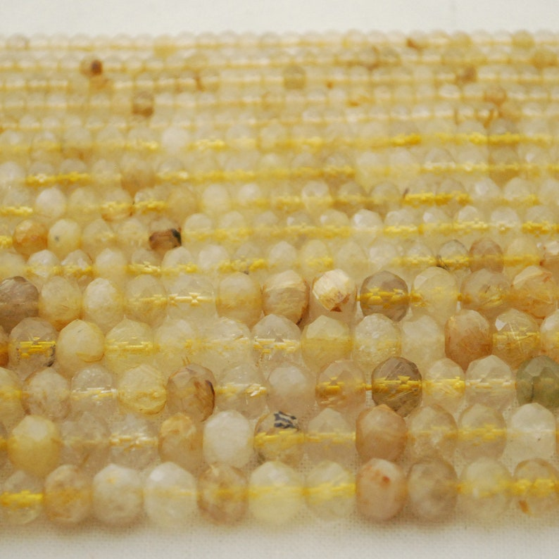 15.5 strand 4mm 6mm 8mm sizes High Quality Grade A Natural Gold Rutilated Quartz Semi-Precious Gemstone FACETED Rondelle Spacer Beads