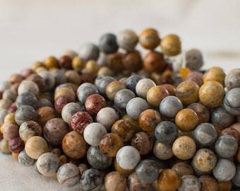 "High Quality Grade A Natural Sky Eye Jasper Semi-precious Gemstone Round Beads - 4mm, 6mm, 8mm, 10mm sizes - 15.5"" strand"