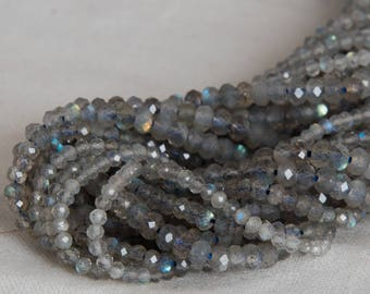 """Grade A Natural Labradorite (grey) Semi-Precious Gemstone FACETED Rondelle Spacer Beads - 2mm, 3mm, 4mm, 6mm, 8mm, 10mm size 15.5"""" strand"""