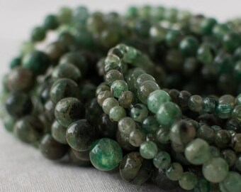 "High Quality Grade AB Natural Green Kyanite Semi-precious Gemstone Round Beads - 4mm, 6mm, 8mm sizes - 16"" strand"