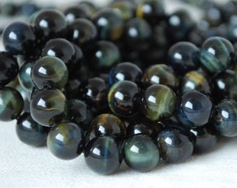 "High Quality Grade A Natural Blue Tiger Eye Semi-precious Gemstone Round Beads - 4mm, 6mm, 8mm, 10mm sizes - 15.5"" strand"