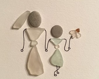 Wedding Sea Glass Art 'Flower girl' unframed bride