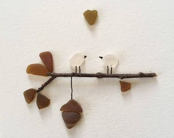 Sea Glass and Twig 'Love Birds' unframed art home