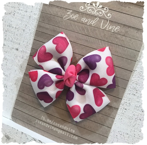 Valentine/'s Day Love Stamp Pinwheel Feltie Hair Bow