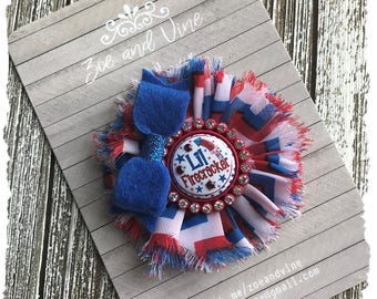 READY to SHIP, Shabby Flower Hair Bow Baby Infant Girls Hair Clip, 4th of July Patriotic, Red White Blue