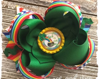Large Twisted Layered Hair Bow - Green Rainbow St. Patrick's Day Bow - READY TO SHIP - St. Paddy's Day