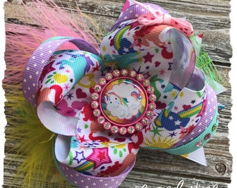 Large Twisted Layered Hair Bow - Pink Purple Unicorn - READY TO SHIP - Unicorn Over the Top Bow