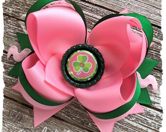 Large Twisted Layered Hair Bow - Pink Green Rainbow St. Patrick's Day Bow - READY TO SHIP - St. Paddy's Day