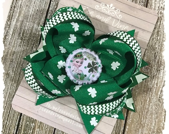 READY TO SHIP, Large Twisted Layered Hair Bow, Emerald Green Shamrock St. Patrick's Day Bow