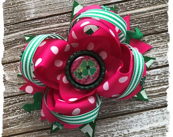 READY TO SHIP, Large Twisted Layered Hair Bow, Emerald Green Pink Shamrock St. Patrick's Day Bow