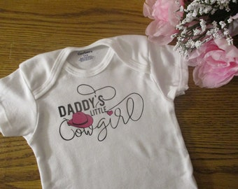6e7ad1237 Daddy's Little Cowgirl Onesie Cowboy Hat Bodysuit Fathers Day Onesie Girl  Onesie Bodysuit New Dad Daddy Birthday Christmas