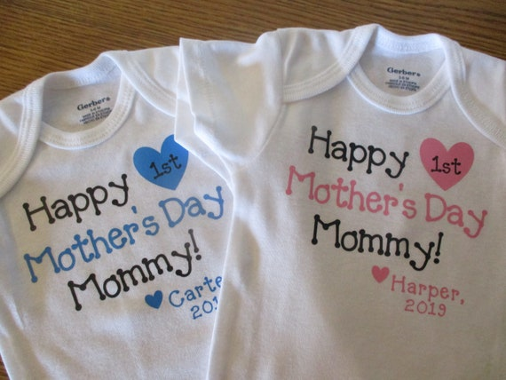 First Mothers Day Onesie Happy Mothers Day Onesie Girl Mothers Etsy