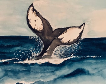 Mixed Media Whale Tail