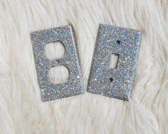 Silver Glitter Single Light Switch Cover Plate Kids Bedroom Nursery Decor Baby Shower Gift Home Decor Lighting