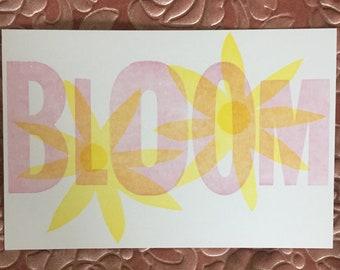 Letterpress Card - Bloom - Flower - Wooden Type - Spring Greeting Card