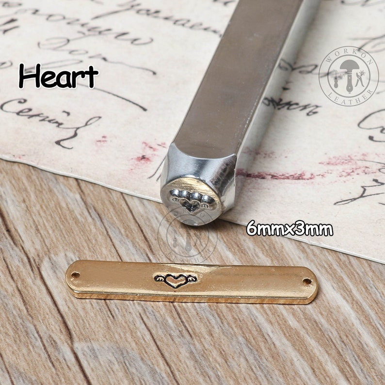 WorkOnLeather 6mm Heart Design Stamp Steel Stamp Jewelry Stamping Tools  Stamps Metal stamps Metal stamping Tools For Bracelet Necklace Ring